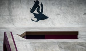 The shadow of a skateboarder during practise.