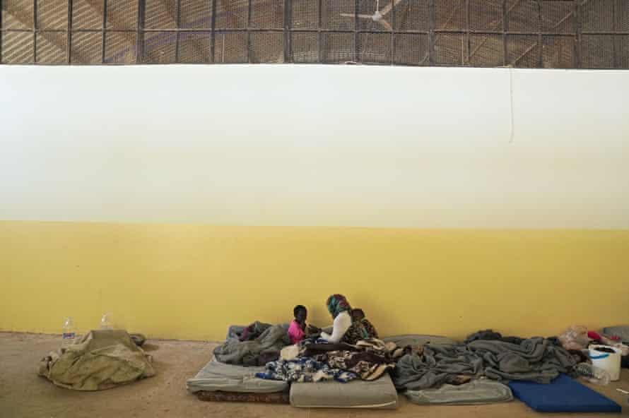 Migrants in shelter in Libya