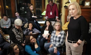 Gillibrand talks during a meet and greet at at a residence in Sioux City, Iowa.