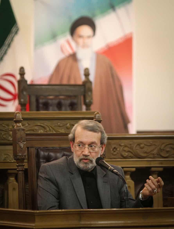 Iran's Majlis (parliament) Speaker Ali Larijani speaks at a press conference in Tehran earlier this month.