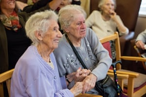 Enhancing their day … residents at Madelayne Court enjoy the comedy show.