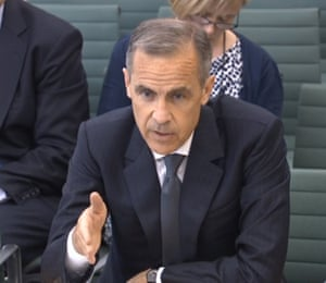 Governor of the Bank of England Mark Carney giving evidence to the Commons Treasury Committee today.
