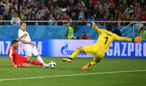 Xherdan Shaqiri of Switzerland scores his side's second goal.
