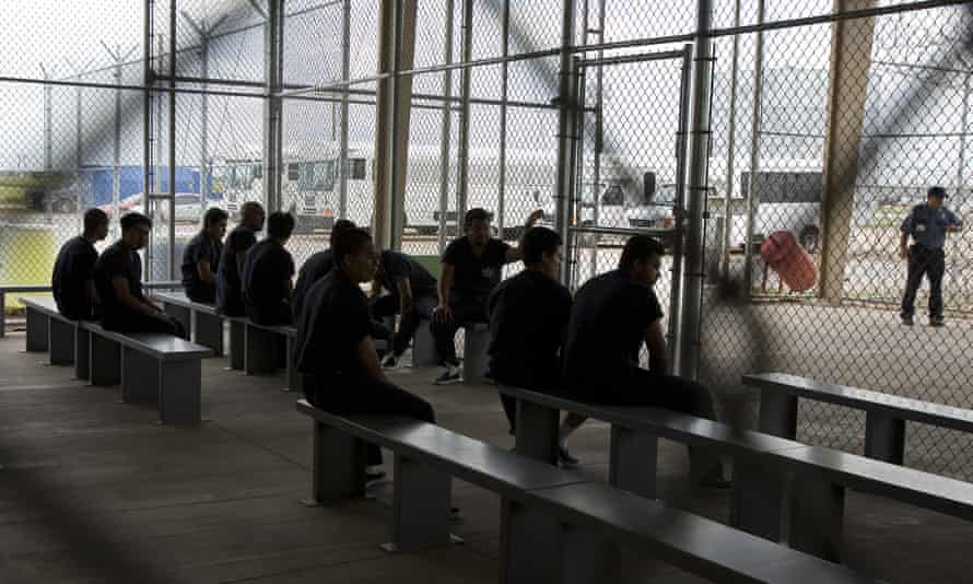 Detainees at Willacy Detention Center, a facility with 10 giant tents that can house up to 2,000 detained immigrants, in Raymondville, Texas.