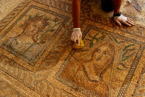 İzmir, Turkey. A 1,800-year-old mosaics is being restored at Metropolis ancient city in Torbalı district.