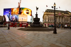 A deserted Piccadilly Circus in the heart of London