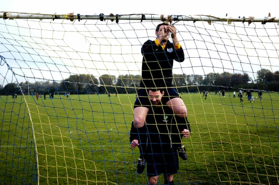 Putting up the goal nets - a job that professional players never have to do.