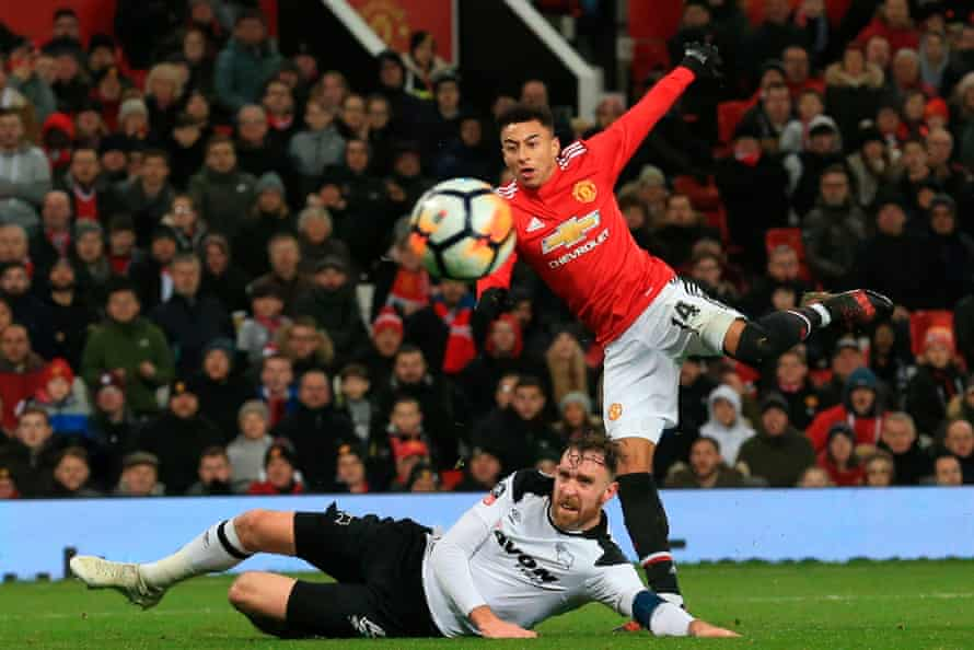 Manchester United's Jesse Lingard tries his luck with a shot in the FA Cup tie against Derby County.