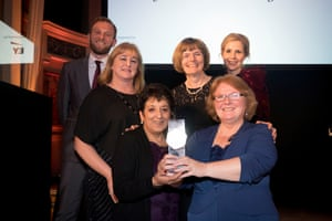 The Hertfordshire country council child protection team pose with their award.