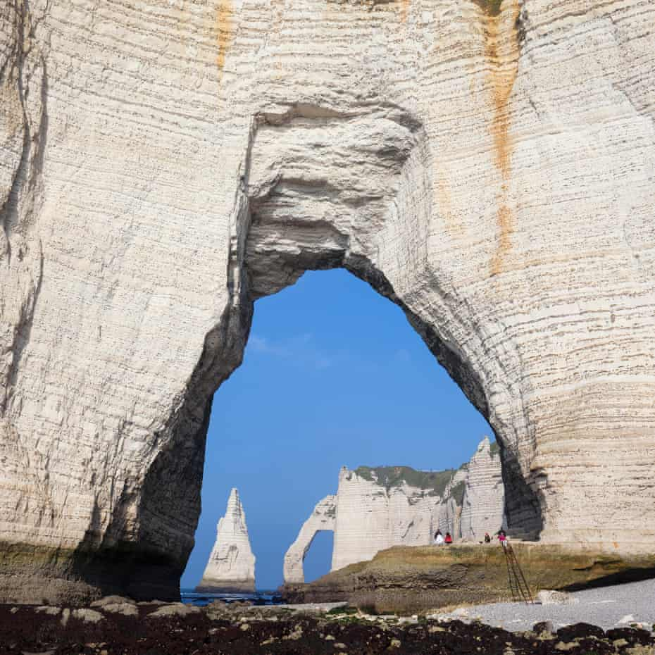 Chalk cliffs on the Cote d'Albatre, or Alabaster Coast, near Etretat in France.