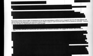 Redacted page from fracking report