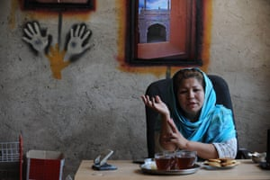 Laila Haidari in her office at Mother Camp in Kabul.