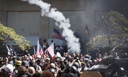 Far-right organizers clashed with counter-protesters at the Justice Center in Portland, Oregon, 22 August.