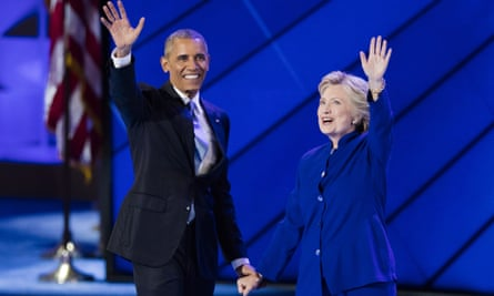 Democratic National Convention Day 3(160728) -- PHILADELPHIA, July 28, 2016 (Xinhua) -- U.S. Democratic Presidential Candidate Hillary Clinton (R) and U.S. President Barack Obama are pictured on the third day of the 2016 U.S. Democratic National Convention, at Wells Fargo Center in Philadelphia, Pennsylvania, the United States, on July 27, 2016. (Xinhua/Li Muzi)PHOTOGRAPH BY Xinhua / Barcroft Images London-T:+44 207 033 1031 E:hello@barcroftmedia.com - New York-T:+1 212 796 2458 E:hello@barcroftusa.com - New Delhi-T:+91 11 4053 2429 E:hello@barcroftindia.com www.barcroftimages.com