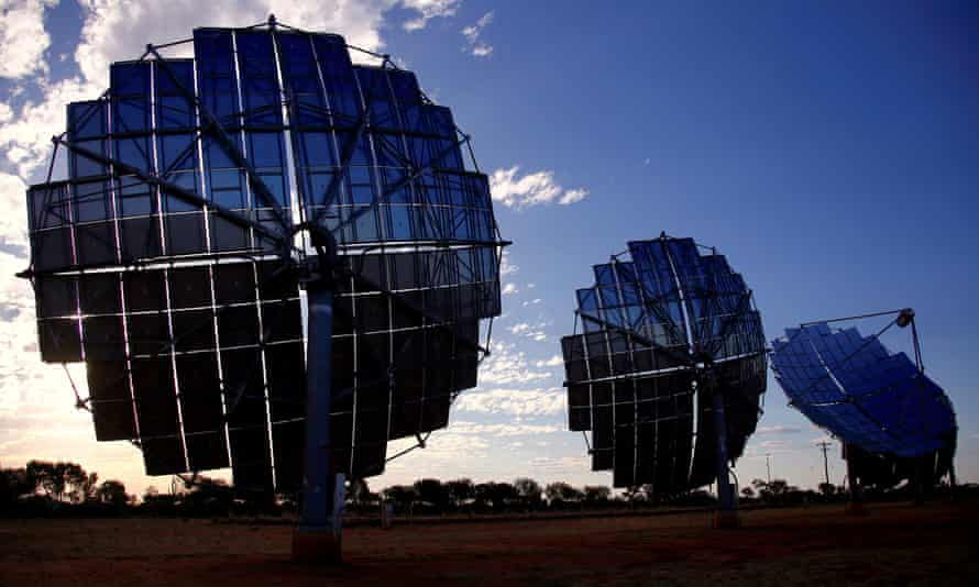A solar panel array can be seen at the Windorah Solar Farm, which was installed by Ergon Energy, near the town of Windorah in outback Queensland