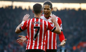 Virgil van Dijk, celebrating here before his red card against West Brom, is a sought-after January target.