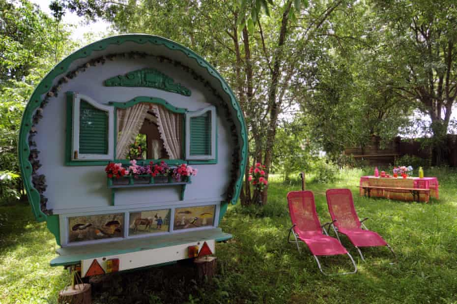 Hand-painted caravan at Can Portell, Girona, Spain