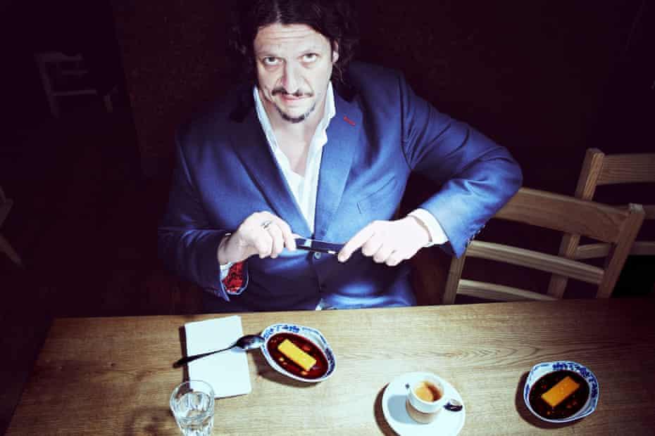 Jay Rayner shot at the Taberna do Mercado, E1 with Steamed egg yolk, pork fat and port caramel desert.