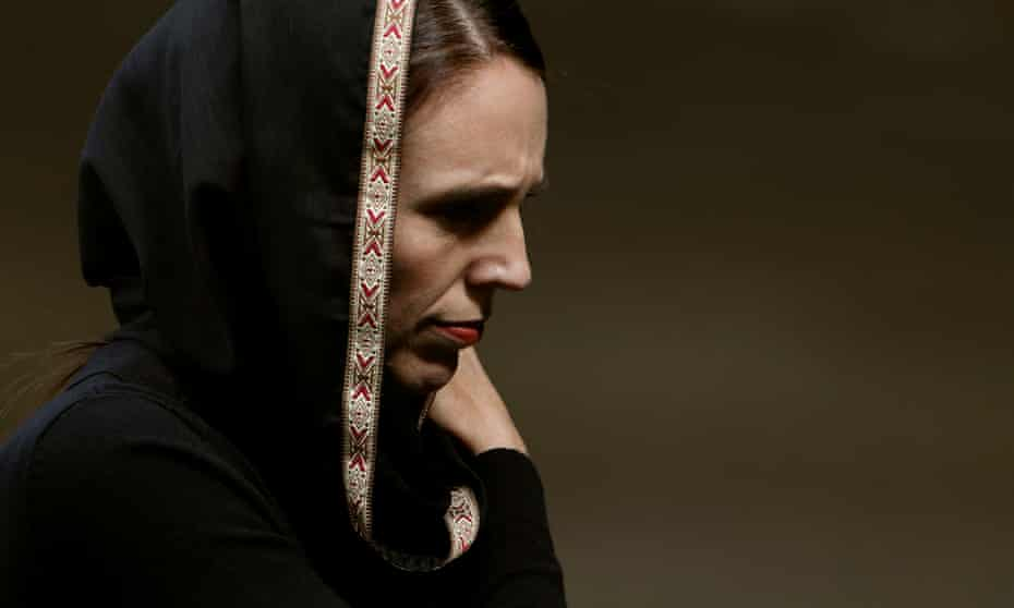 New Zealand's Prime Minister Jacinda Ardern after Friday prayers at Hagley Park outside Al-Noor mosque in Christchurch in the days after the massacre