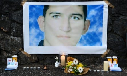 A shrine for Reza Barati during a candlelight vigil in support of asylum seekers in Brisbane in February last year