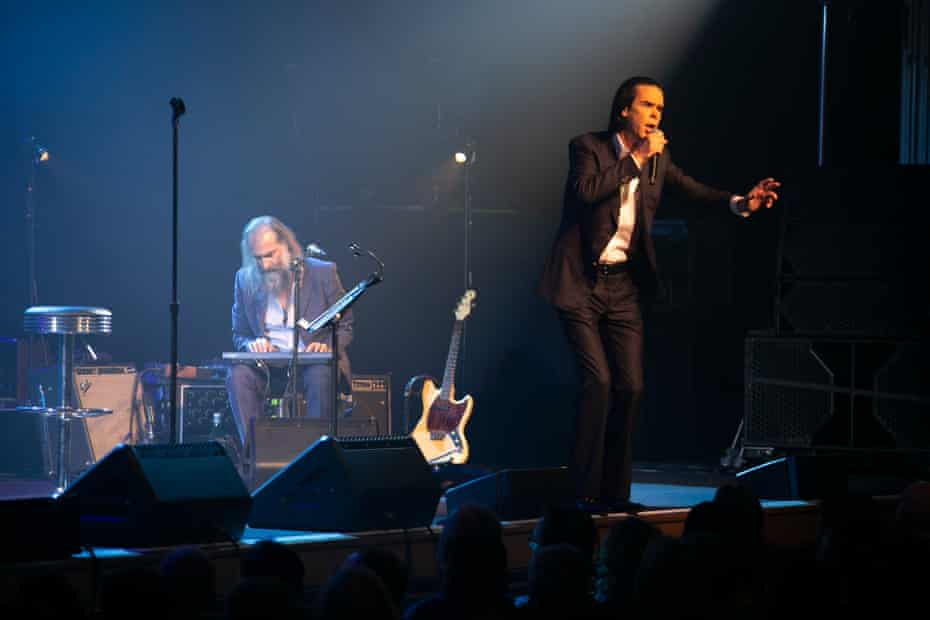 Nick Cave and Warren Ellis performing at the Royal Concert Hall, Nottingham.