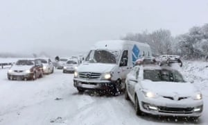 Cars stuck in the snow on the A30 near Newquay.