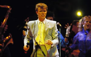 David Bowie performs on stage during the Live Aid concert at Wembley Stadium 1985 in London