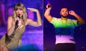 Representing 'the two sides of pop's current era' ... Taylor Swift and Drake.