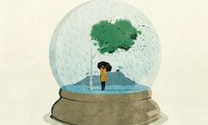 Illustration of woman holding umbrella in snow globe