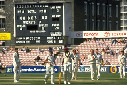 The scoreboard at the Oval shows Lancashire's record breaking innings of 863 against Surrey in May 1990.