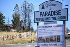 A roadside memorial is dedicated to the 85 people who died as a result of the Camp fire in Paradise, California.