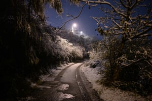 A snow-lined road in Givors, France