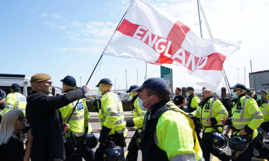 Protesters at an anti-immigration demonstration in Dover on Saturday