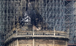 The damaged roof of Notre Dame after the fire