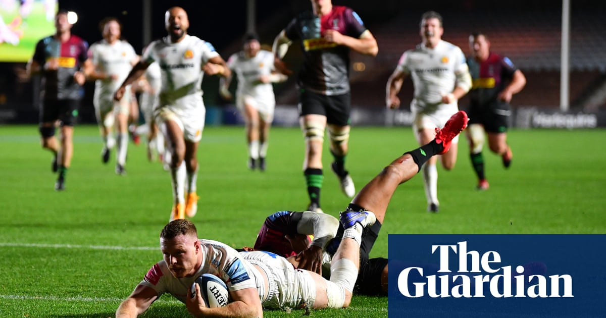 Exeter begin title defence in style as Sam Simmonds treble sinks Harlequins