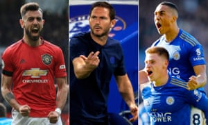 Manchester United's Bruno Fernandes, the Chelsea manager, Frank Lampard, and Leicester's Harvey Barnes and Youri Tielemans.