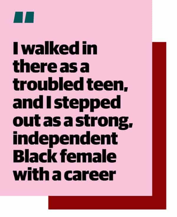 """Quote: """"I walked in there as a troubled teen, and I stepped out as a strong, independent Black female with a career"""""""
