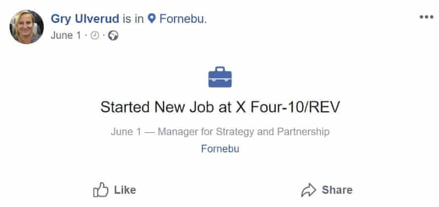 Screengrab of Facebook post by Gry Ulverud, wife of UN Environment executive director Erik Solheim, announcing a new job with X-Four-10/REV