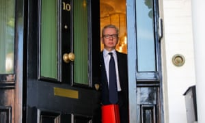 Michael Gove, the environment secretary and Tory leadership candidate, leaving home this morning.