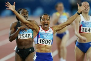 Kelly Holmes wins the women's 800m at the 2004 Olympics in Athens, Greece.