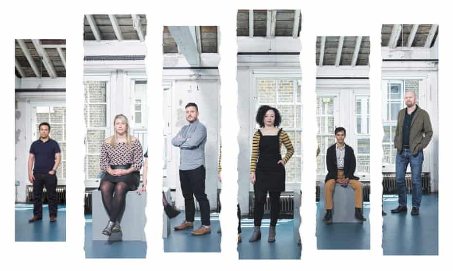 Left to right: Tarek Iskander, Charlotte Bennett, Michael Longhurst, Lynette Linton, Suba Das, Sean Foley.