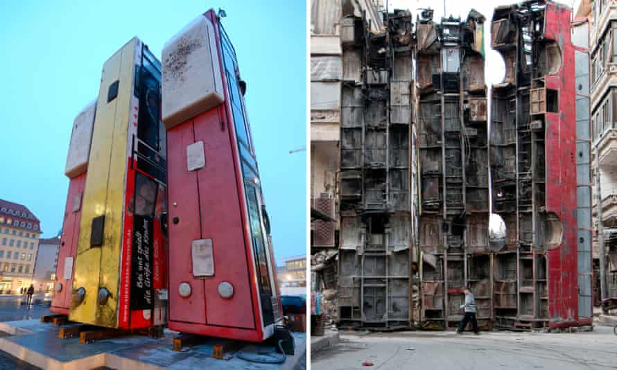 The installation mirrors a barricade in Aleppo to protect residents from sniper fire