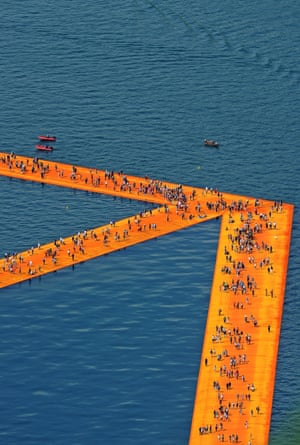 Yellow and orange fabric wraps a floating dock