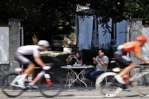 Spectators watch the riders during stage 17 between Grenoble and Meribel, Col de la Loze.
