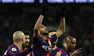 Riyad Mahrez points to the heavens after scoring for Manchester City in their 1-0 Premier League victory against Tottenham at Wembley.