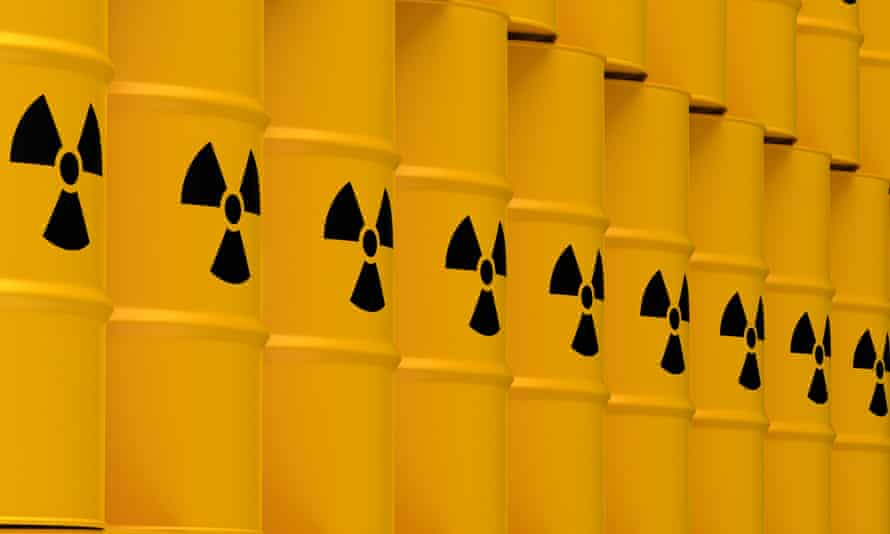 Yellow barrels with nuclear waste symbol