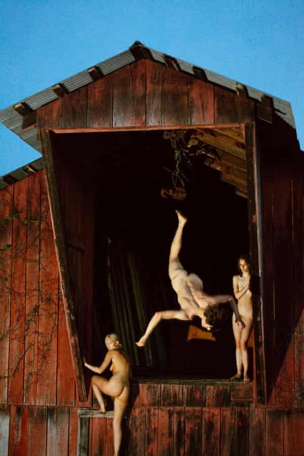 Barn Flip (Red), 2013 by Ryan McGinley