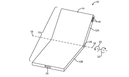 a patent drawing of a potential clamshell iPhone