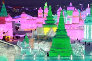The 19th Harbin Ice and Snow World, an 800,000-square-meter park, provides an opportunity for visitors to make a close encounter with ice and snow.