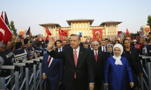 Recep Tayyip Erdoğan with his wife Emine outside the presidential palace in Ankara during the inauguration ceremony of a monument to commemorate the victims of the coup on 15 July 2016.